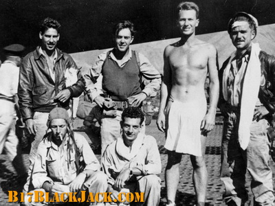 History of the B-17F Black Jack Wreck - Pilot De Loach standing without shirt