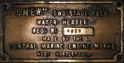 The Duke of Sparta engine room plaque