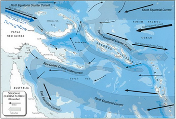 Papua New Guinea's Marine Biodiversity - Current Map showing the major currents in December