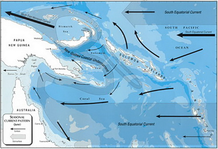 Papua New Guinea's Marine Biodiversity - Map showing the major currents during the South-East Monsoon