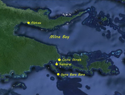 Location map for Gona Bara Bara Island