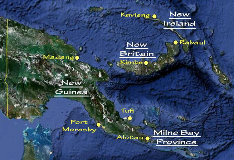 Map of the main scuba diving locations in Papua New Guinea