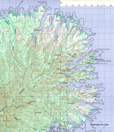 Diving Cape Nelson Fiords - Map of Cape Nelson and its fiords