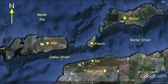 Timor Leste, Alor and Wetar map showing the Ombai Strait