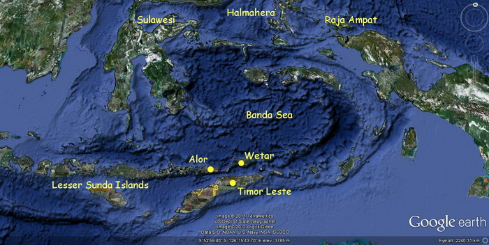 Timor Leste and Banda Sea Map