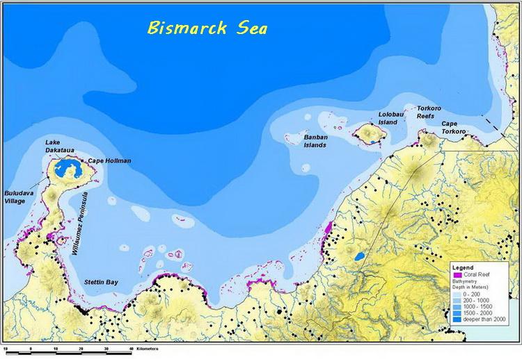 Kimbe Bay's Incredible Biodiversity - Kimbe Bay depth contour map