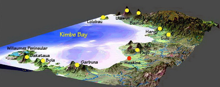 Volcano map of Kimbe Bay
