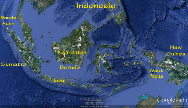 Map of Indonesia showing the large islands of Sumatra, Borneo and New Guinea