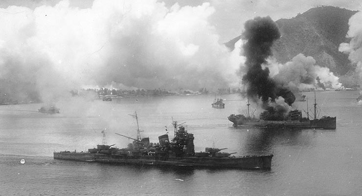 Papua New Guinea and WWII - Japanese ships under attack in Rabaul Harbour