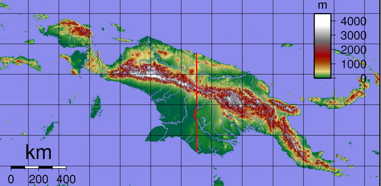 First Contact in Papua New Guinea - Topographical Map of New Guinea