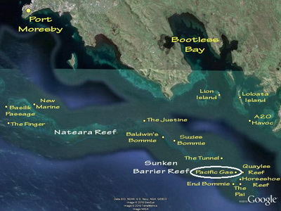Diving the Pacific Gas - Map