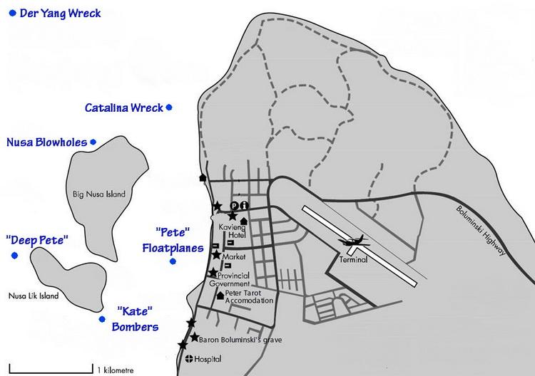 Kavieng dive sites - Kavieng's Pacific Ocean dive sites - Kavieng Dive Site Map