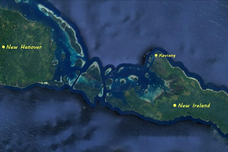 Diving Kavieng - Map of New Ireland and New Hanover, showing the Main Channels