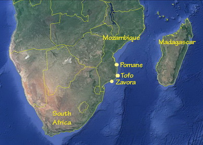 Southern Africa map and the Zavora to Pomene corridor