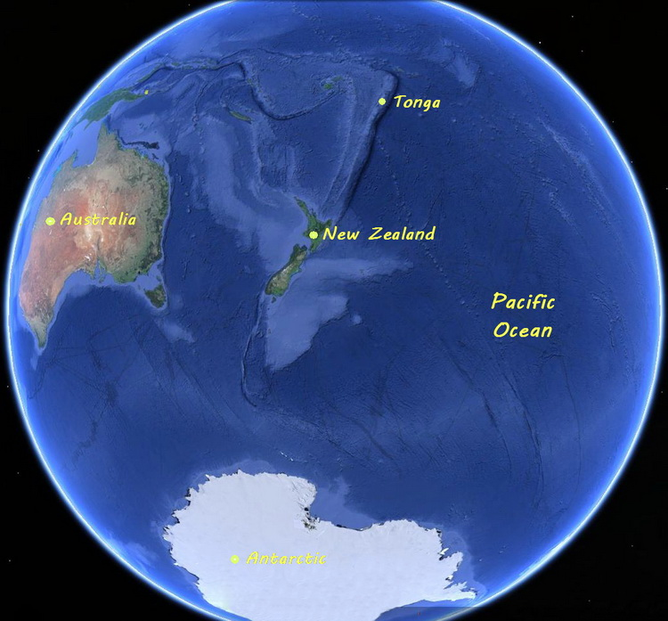 Tongan Logistics - Map of the world showing Tonga's location