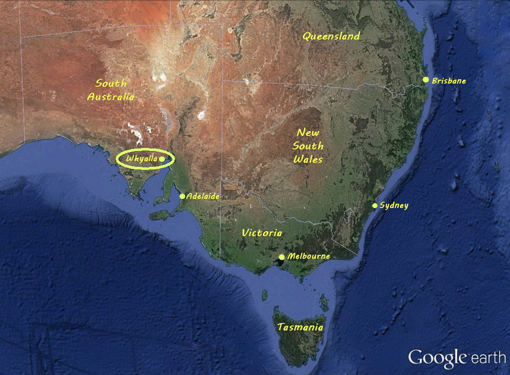 Overview of Whyalla and Diving Logistics - Map of southern Australia